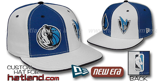 Mavericks 'DOUBLE WHAMMY' Royal-White Fitted Hat : pictured without stickers that these products are shipped with