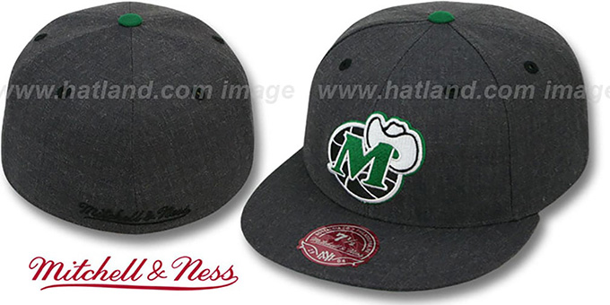 Mavericks 'GREY HEDGEHOG' Fitted Hat by Mitchell & Ness : pictured without stickers that these products are shipped with
