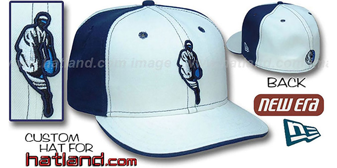 Mavericks 'INSIDER PINWHEEL' White-Navy Fitted Hat by New Era : pictured without stickers that these products are shipped with