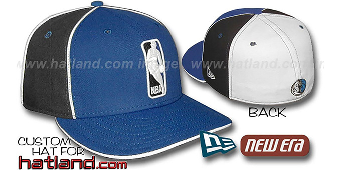 Mavericks 'LOGOMAN-2' Royal-Black-White Fitted Hat by New Era : pictured without stickers that these products are shipped with