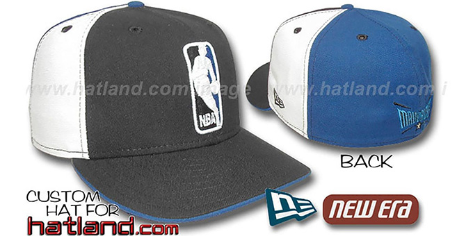 Mavericks 'LOGOMAN' Black-White-Royal Fitted Hat by New Era : pictured without stickers that these products are shipped with