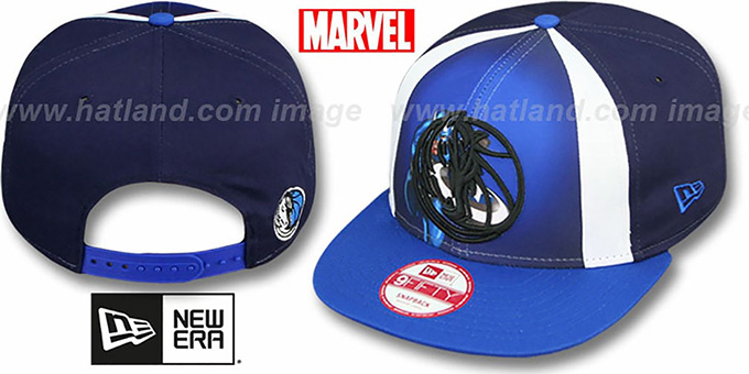 Mavericks 'MARVEL RETRO-SLICE SNAPBACK' Navy-Royal Hat by New Era : pictured without stickers that these products are shipped with
