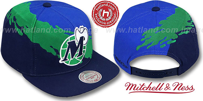 Mavericks 'PAINTBRUSH SNAPBACK' Royal-Green-Navy Hat by Mitchell & Ness : pictured without stickers that these products are shipped with