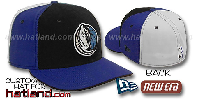 Mavericks 'PINWHEEL' Black-Royal-White Fitted Hat  : pictured without stickers that these products are shipped with