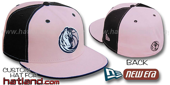 Mavericks 'PINWHEEL' Light Pink-Black Fitted Hat by New Era : pictured without stickers that these products are shipped with