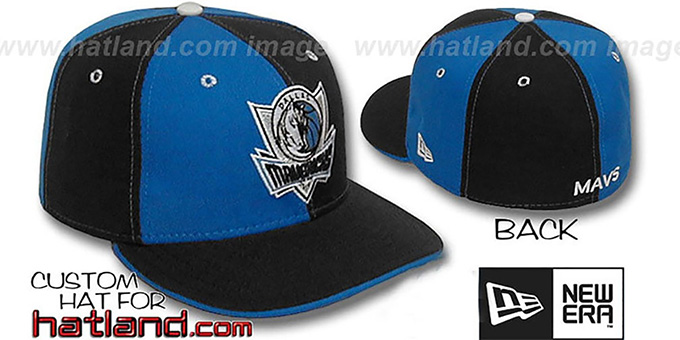 Mavericks 'PINWHEEL' Royal-Black Fitted Hat : pictured without stickers that these products are shipped with
