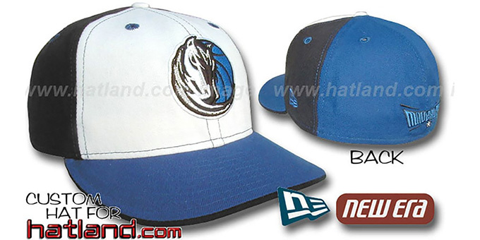 Mavericks 'PINWHEEL' White-Black-Royal Fitted Hat by New Era : pictured without stickers that these products are shipped with