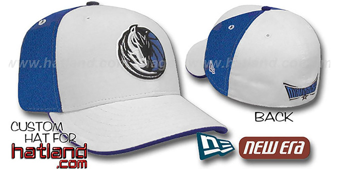 Mavericks 'PINWHEEL' White-Royal Fitted Hat by New Era : pictured without stickers that these products are shipped with