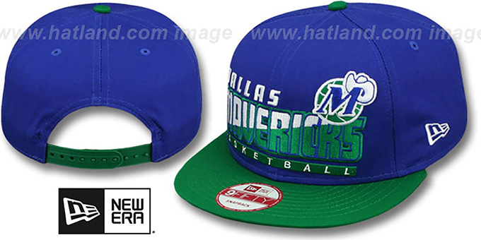 Mavericks 'SLICE-N-DICE SNAPBACK' Royal-Green Hat by New Era : pictured without stickers that these products are shipped with