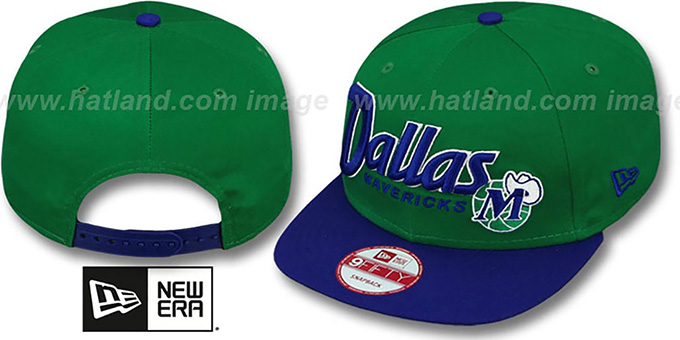 Mavericks 'SNAP-IT-BACK SNAPBACK' Green-Royal Hat by New Era : pictured without stickers that these products are shipped with