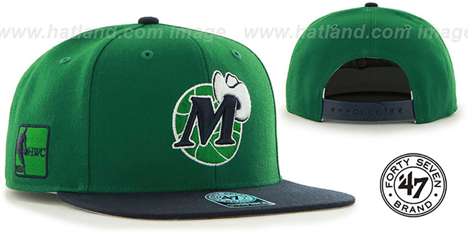 Mavericks 'SURE-SHOT SNAPBACK' Green-Navy Hat by Twins 47 Brand : pictured without stickers that these products are shipped with