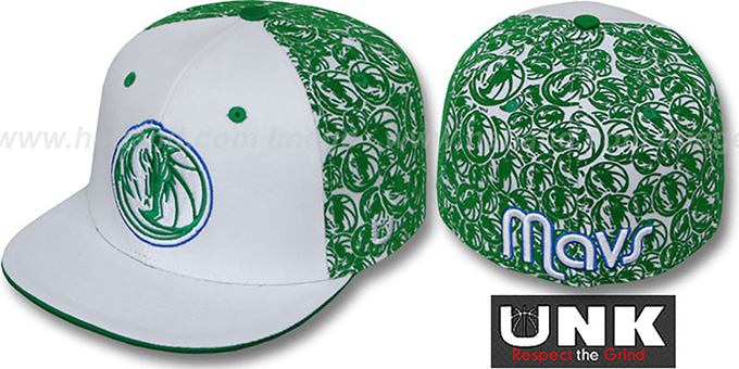 Mavericks 'TC-FLOCKING' White-Green Fitted Hat by UNK : pictured without stickers that these products are shipped with