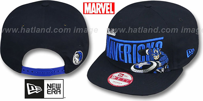 Mavericks 'TEAM-HERO SNAPBACK' Navy Hat by New Era : pictured without stickers that these products are shipped with