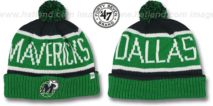 Mavericks 'THE-CALGARY' Green-Navy Knit Beanie Hat by Twins 47 Brand : pictured without stickers that these products are shipped with