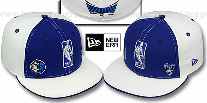 Mavericks 'TRIPLE THREAT' Royal-White Fitted Hat by New Era : pictured without stickers that these products are shipped with
