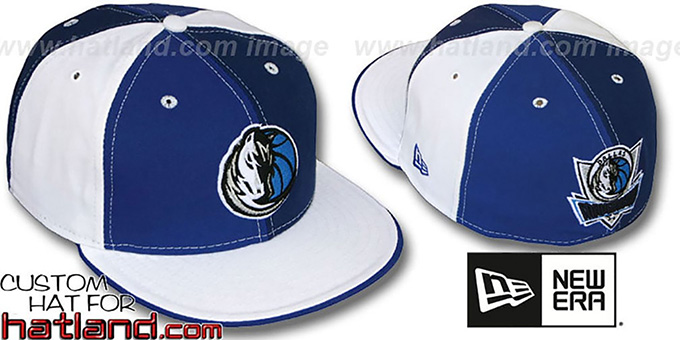 Mavericks TWO BIG 'PINWHEEL' Royal-Navy-White Fitted Hat : pictured without stickers that these products are shipped with