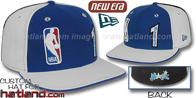 McGrady 'DOUBLE WHAMMY' Royal-White-Black Fitted Hat : pictured without stickers that these products are shipped with