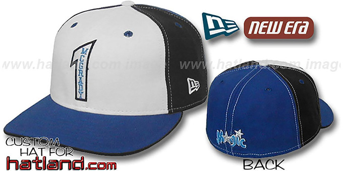 McGrady 'PINWHEEL' White-Black-Royal Fitted Hat by New Era : pictured without stickers that these products are shipped with
