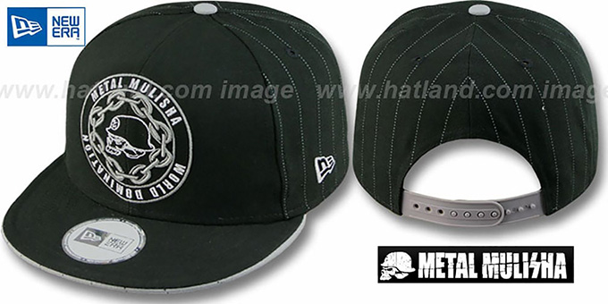 Metal Mulisha 'FIRST STRING' Snapback Black-Grey Hat by New Era : pictured without stickers that these products are shipped with