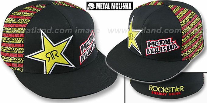 Metal Mulisha FRONT FACE 'ROCKSTAR' Black Flexfit Hat : pictured without stickers that these products are shipped with