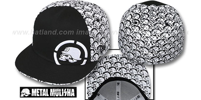 Metal Mulisha 'SCALES' Black-White Fitted Hat by New Era : pictured without stickers that these products are shipped with