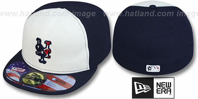 Mets '2011 STARS N STRIPES' White-Navy Hat by New Era : pictured without stickers that these products are shipped with