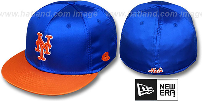 Mets '2T SATIN CLASSIC' Royal-Orange Fitted Hat by New Era : pictured without stickers that these products are shipped with