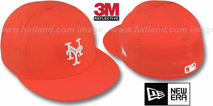 Mets '3M REFLECTIVE' Orange Fitted Hat by New Era : pictured without stickers that these products are shipped with