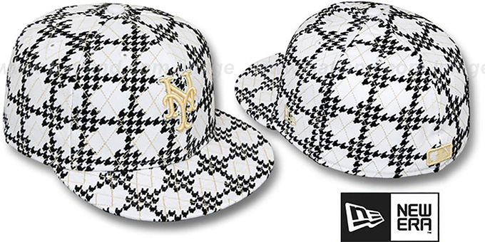 Mets 'A-TOOTH' White-Black Fitted Hat by New Era : pictured without stickers that these products are shipped with