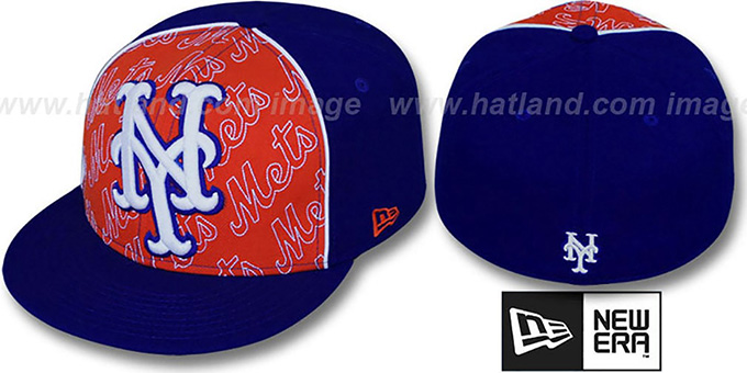 Mets 'ANGLEBAR' Royal-Orange Fitted Hat by New Era : pictured without stickers that these products are shipped with