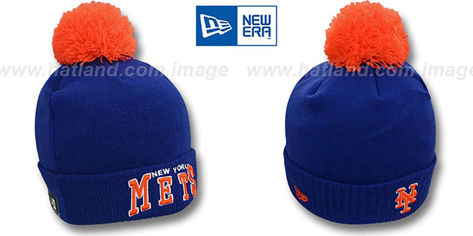 Mets 'ARCHED-RIBBED' Royal Knit Beanie Hat by New Era : pictured without stickers that these products are shipped with