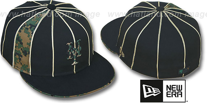 Mets 'ARMY DIGITAL SLIVER' Black Fitted Hat by New Era : pictured without stickers that these products are shipped with