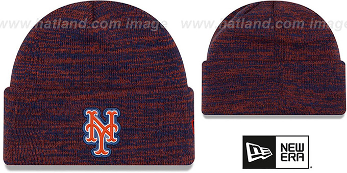 Mets 'BEVEL' Royal-Orange Knit Beanie Hat by New Era : pictured without stickers that these products are shipped with