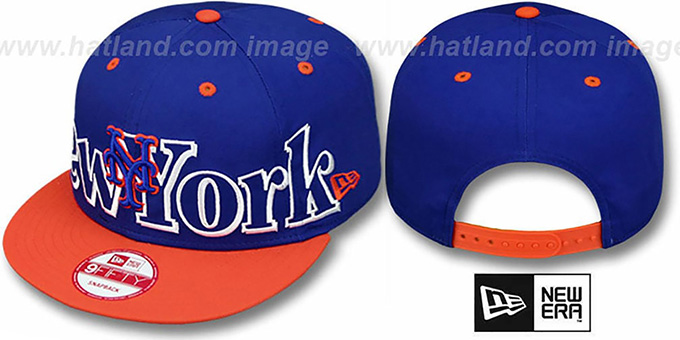 Mets 'BIG CITY PUNCH SNAPBACK' Royal-Orange Hat by New Era : pictured without stickers that these products are shipped with