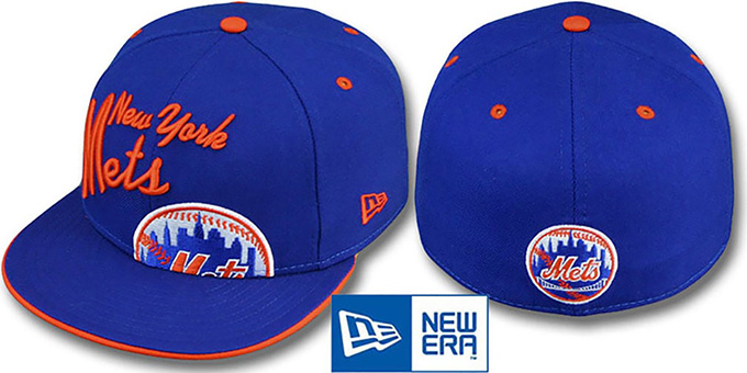 Mets 'BIG-SCRIPT' Royal Fitted Hat by New Era : pictured without stickers that these products are shipped with