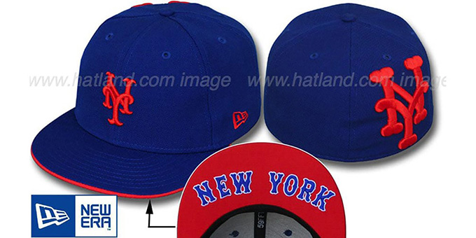Mets 'BIGBACK CLASSIC' Royal Fitted Hat by New Era : pictured without stickers that these products are shipped with