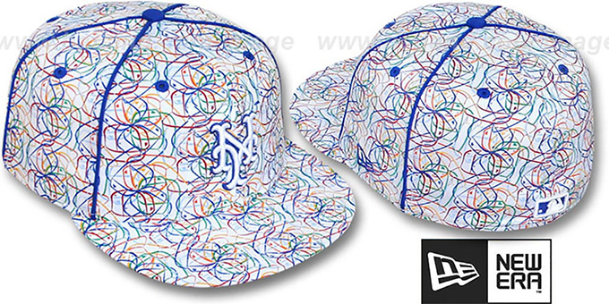 Mets 'BRUSHED-ART' White-Multi Fitted Hat by New Era : pictured without stickers that these products are shipped with