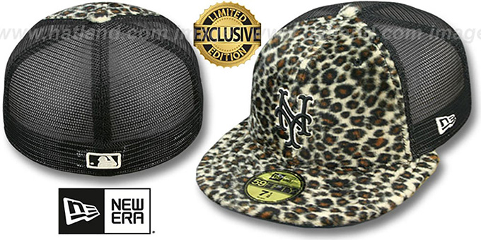Mets CHEETAH 'ANIMAL-FUR MESH-BACK' Fitted Hat by New Era : pictured without stickers that these products are shipped with