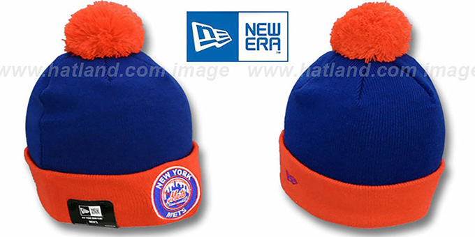 Mets 'CIRCLE' Royal-Orange Knit Beanie Hat by New Era : pictured without stickers that these products are shipped with