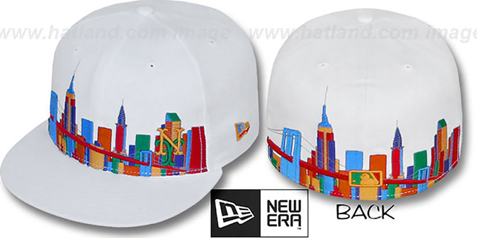 Mets 'CITY DEEP-SKYLINE' White-Multi Fitted Hat by New Era : pictured without stickers that these products are shipped with