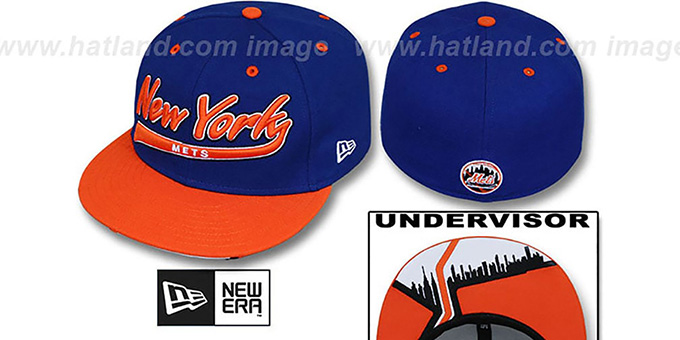 Mets 'CITY-SCRIPT' Royal-Orange Fitted Hat by New Era : pictured without stickers that these products are shipped with