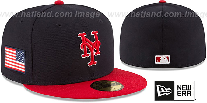 Mets 'COUNTRY COLORS' Navy-Red Fitted Hat by New Era : pictured without stickers that these products are shipped with
