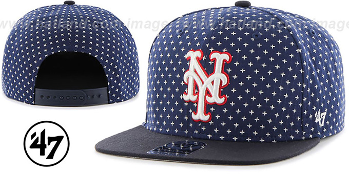 Mets 'CROSSBREED SNAPBACK' Navy Hat by Twins 47 Brand : pictured without stickers that these products are shipped with