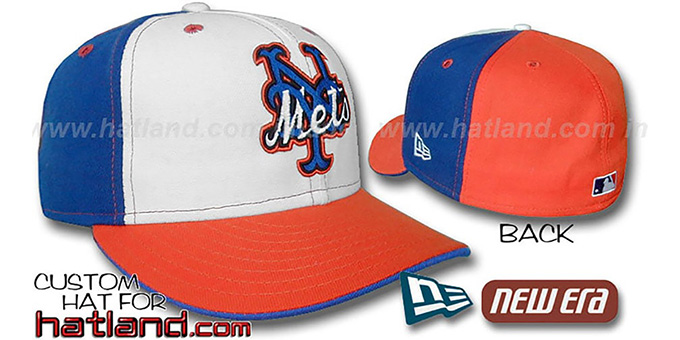 Mets 'DECEPTOR PINWHEEL' White-Royal-Orange Fitted Hat : pictured without stickers that these products are shipped with