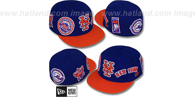 Mets 'DEEZ PATCHES' Royal-Orange Fitted Hat by New Era : pictured without stickers that these products are shipped with