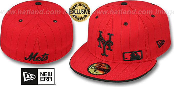 Mets 'FABULOUS' Red-Black Fitted Hat by New Era : pictured without stickers that these products are shipped with