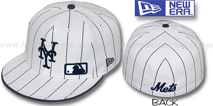 Mets 'FABULOUS' White-Navy Fitted Hat by New Era : pictured without stickers that these products are shipped with