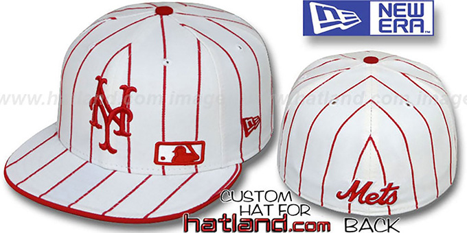 Mets 'FABULOUS' White-Red Fitted Hat by New Era : pictured without stickers that these products are shipped with