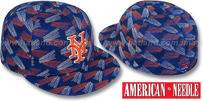 Mets 'FLICKER' Royal Fitted Hat by American Needle : pictured without stickers that these products are shipped with