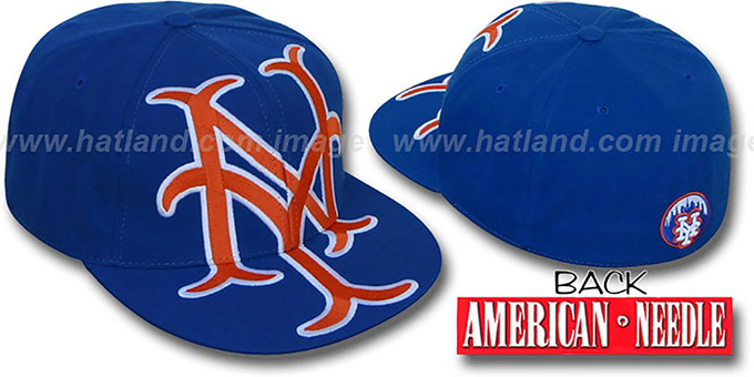 Mets 'GETTIN-BIGGER' Royal Fitted Hat by American Needle : pictured without stickers that these products are shipped with